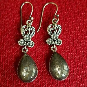Black Sunstone Earrings Sterling Silver NEW